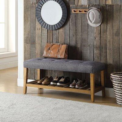 Wasinger Wooden Upholstered Bench Upholstery: Gray