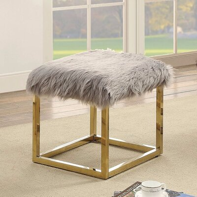 """Kellems Ultra Comfy Metal Bench Size: 18"""" H x 21"""" W x 19"""" D, Upholstery: Gray/Gold"""