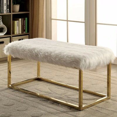 "Kellett Shaggy Metal Bench Size: 19.75"" H x 40"" W x 19"" D, Upholstery: Gray/Gold"