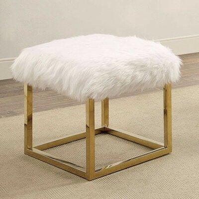 "Kelley Fuzzy Metal Bench Size: 18"" H x 21"" W x 19"" D, Upholstery: White"