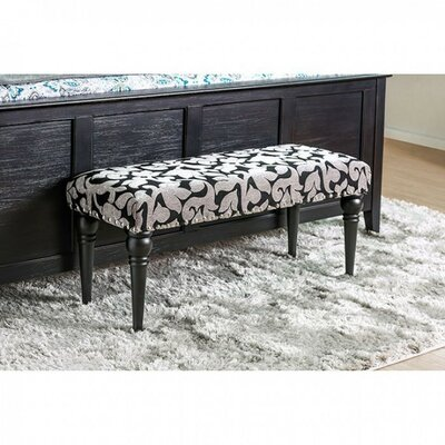 Costas Floral Wooden Upholstered Bench