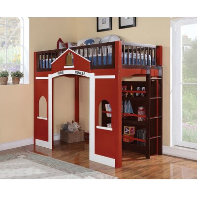 Ketner Wooden Firehouse Full Loft Bed with Bookcase