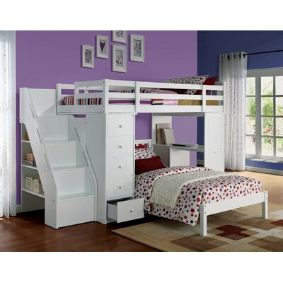 Montelimar Wooden Loft Bed with Bookcase