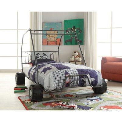 Ketter Metal Go Kart Style Twin Car Bed Bed Frame Color: Black