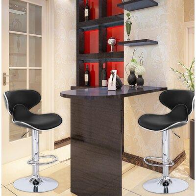 Zatkovich Adjustable Height Swivel Bar Stool Upholstery: Black