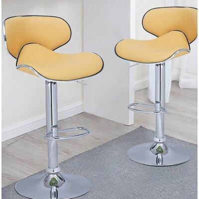 Zatkovich Adjustable Height Swivel Bar Stool Upholstery: Yellow