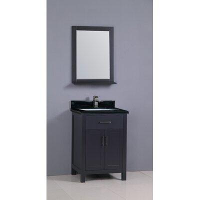 "Flannery 24"" Single Bathroom Vanity Set Base Finish: Black, Top Finish: Shanxi Black Granite"