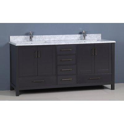 "Flannery 72"" Double Bathroom Vanity Set Base Finish: Dark Grey, Top Finish: Carrera Marble"