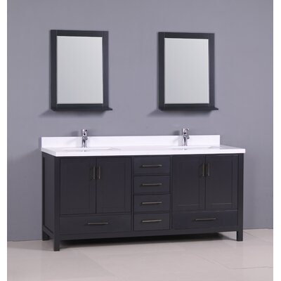 "Flannery 72"" Double Bathroom Vanity Set Base Finish: Dark Grey, Top Finish: Snow White Quartz"