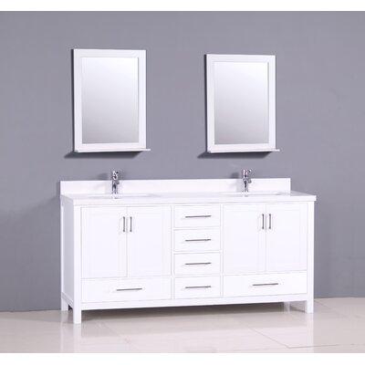 "Flannery 72"" Double Bathroom Vanity Set Top Finish: Snow White Quartz, Base Finish: White"