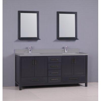 "Flannery 72"" Double Bathroom Vanity Set Base Finish: Dark Grey, Top Finish: Calypso Quartz"