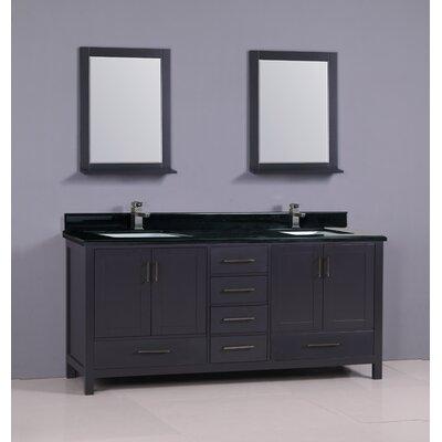 "Flannery 72"" Double Bathroom Vanity Set Base Finish: Dark Grey, Top Finish: Shanxi Black Granite"