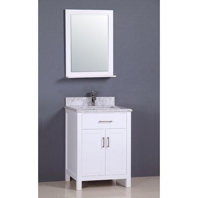 "Flannery 24"" Single Bathroom Vanity Set Top Finish: Carrera Marble, Base Finish: White"