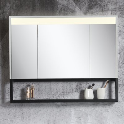 """Forney 39.37"""" x 31.49"""" Surface Mount Medicine Cabinet with LED Lighting"""