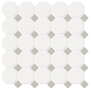 Shape Random Sized Porcelain Mosaic Tile in White/Gray