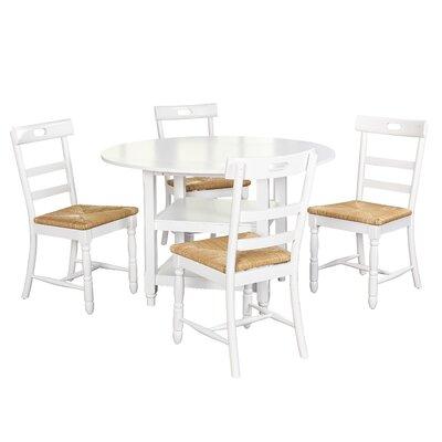 Pollmann 5 Piece Drop Leaf Dining Set Chair Color: White