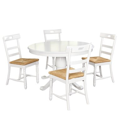 Pollmann 5 Piece Dining Set Chair Color: White