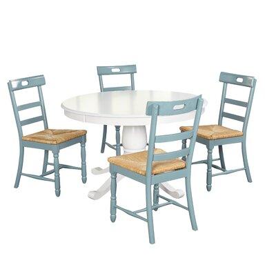 Pollmann 5 Piece Dining Set Chair Color: Antique Blue