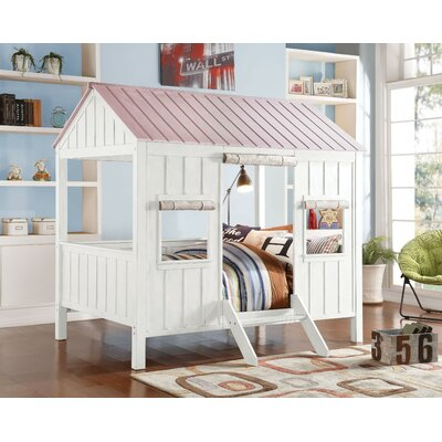 Siena Wooden Full Canopy Bed Bed Frame Color: White/Pink