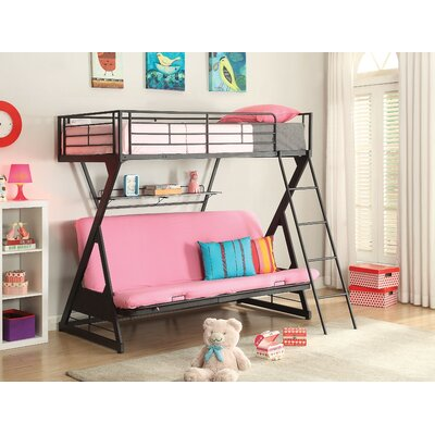 Bourgault Metal Twin over Full Futon Bunk Bed with Bookcase