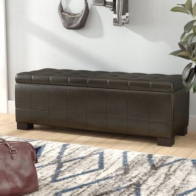 Sinope Leather Storage Bench Color: Brown