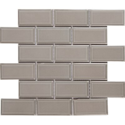 "Glazed Mesh Mounted 2"" x 4"" Beveled Ceramic Mosaic Tile in Gray"