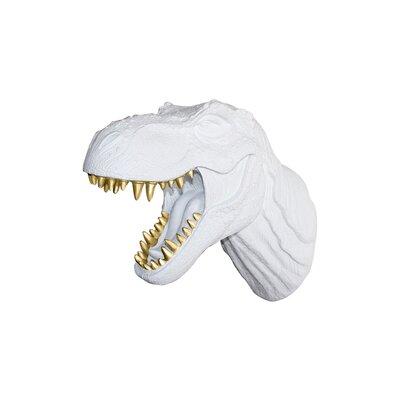 Michaud Jurassic Dinosaur T-Rex Faux Taxidermy Color: White/Gold