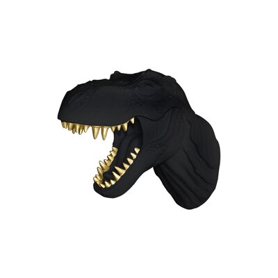Michaud Jurassic Dinosaur T-Rex Faux Taxidermy Color: Black/Gold