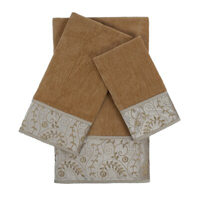 Fern 3 Piece Embellished Towel Set Color: Nugget
