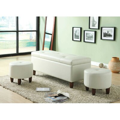 Mairead Storage Bench with 2 Ottomans