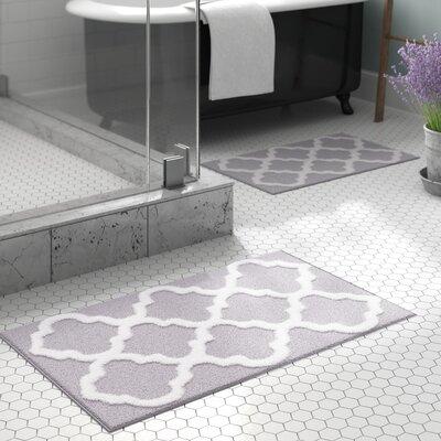 Garan 2 Piece Trellis Cotton Bath Mat Set Color: Silver