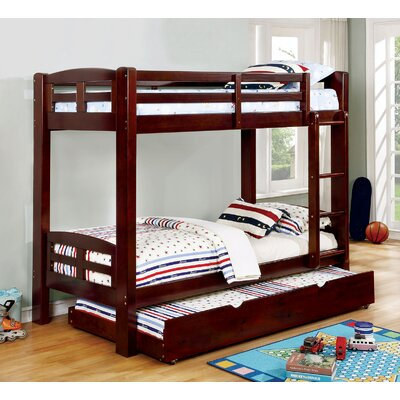 Crosby Twin Over Twin Bunk Bed Bed Frame Color: Dark Walnut