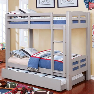 Crosby Twin Over Twin Bunk Bed Bed Frame Color: Gray