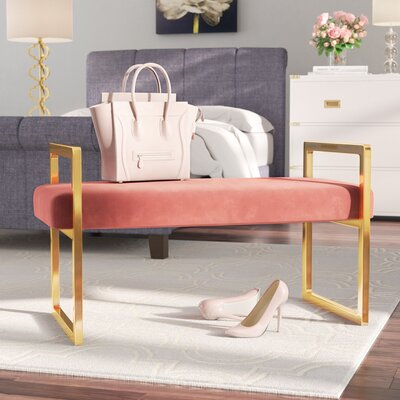 Elmwood Upholstered Bench Upholstery Color: Pink