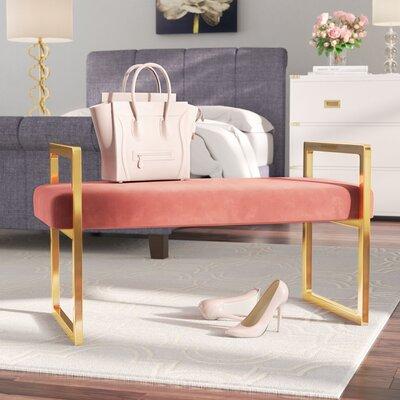 Elmwood Upholstered Bench Upholstery Color: Pink