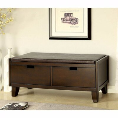 Allocca Contemporary Style Leather Storage Bench