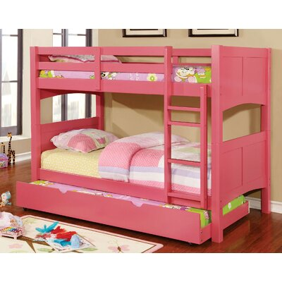 Kolb Twin over Twin Bunk Configuration Bed with Trundle Bed Frame Color: Pink