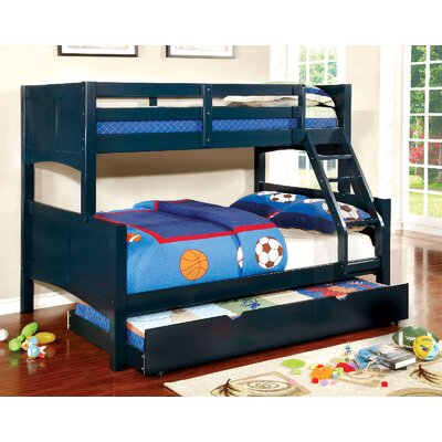 Kolb Twin Over Full Bunk Configuration Bed with Trundle Bed Frame Color: Blue