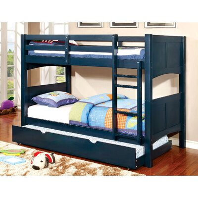 Kolb Twin over Twin Bunk Configuration Bed with Trundle Bed Frame Color: Blue
