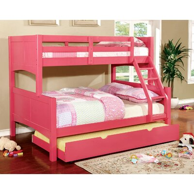 Kolb Twin Over Full Bunk Configuration Bed with Trundle Bed Frame Color: Pink