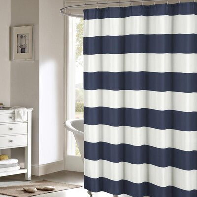 Nieman Shower Curtain Set Color: Navy