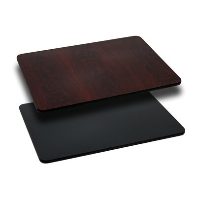 "Tousignant Rectangular Table Top Size: 42"" L x 30"" W, Finish: Black/Mahogany"