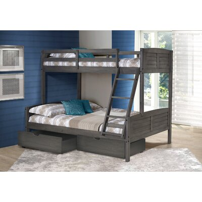 Bodrum Twin Over Full Bunk Bed with Dual Storage Drawers