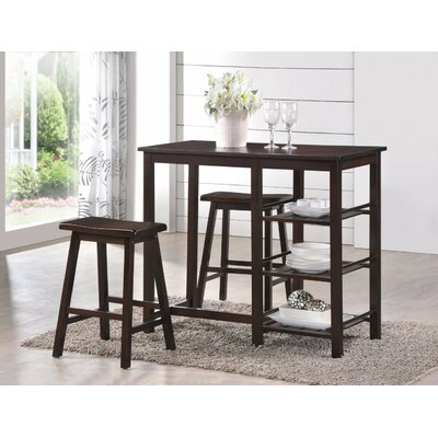 Porras 3 Piece Counter Height Breakfast Nook Dining Set Color: Brown