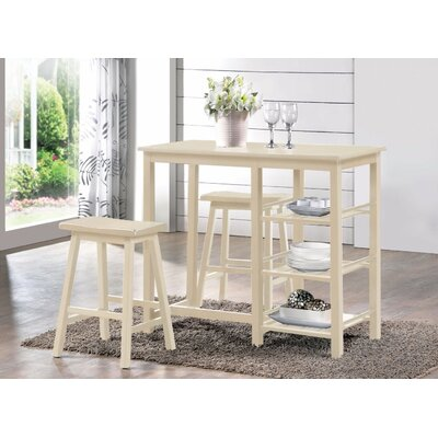 Porras 3 Piece Counter Height Breakfast Nook Dining Set Color: White