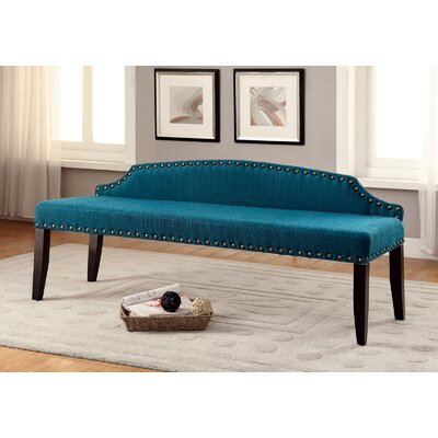 Fagundes Wood Bench Upholstery: Dark Teal