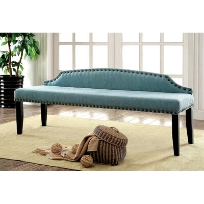 Fagundes Wood Bench Upholstery: Blue