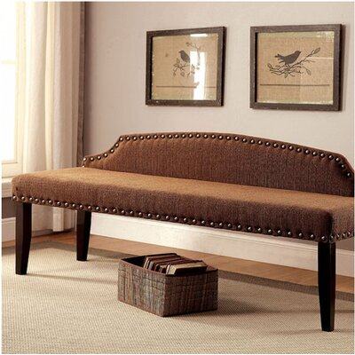 Fagundes Wood Bench Upholstery: Brown