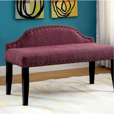 Fagundes Wood Bench Upholstery: Purple