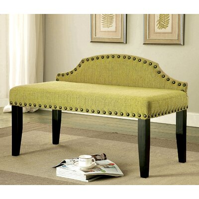 Fagundes Wood Bench Upholstery: Green